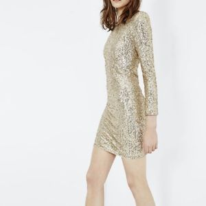 NWT Maje gold sequin bodycon cocktail dress S